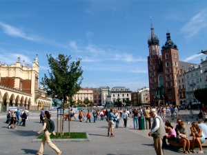 Old Krakow Town Square Poland St. Mary's cathedral