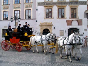 horse drawn carriage Old Warsaw Poland