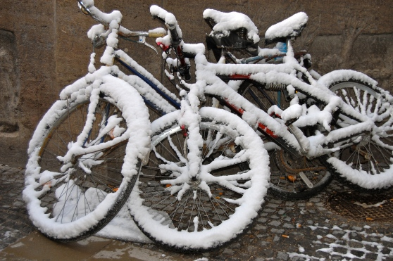snow covered bicycles Munich Germany